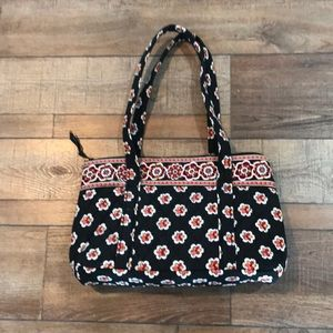 Vera Bradley quilted purse floral design black